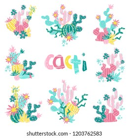 Collection of hand drawn cactus bouquets. Bright exotic succulents in scandinavian style. Vector illustration