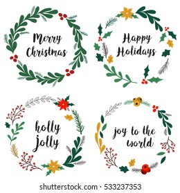 Collection of hand drawn Christmas wreaths with fir branches, red berries, leaves and other elements. Round frame for winter design such as Christmas card, poster, invitation, banner. Vector