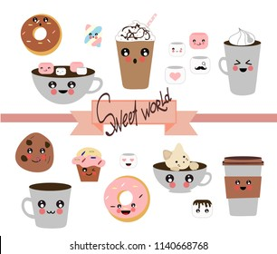Collection of hand drawn. Coffee kawaii. Sweet world. Different options for coffee and donuts, cookies, muffin. Transparent background. Vector