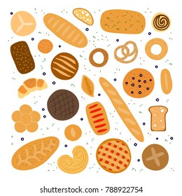 Collection of hand drawn colorful baking bread, bagel, buns and pastries isolated on white background.