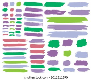 Collection of hand drawn colorful grunge brushes. Vector Grunge Brushes. Dirty Artistic Design Elements. Creative Design Elements. Rainbow background. Distress Frame, Logo, Banner, Wallpaper.