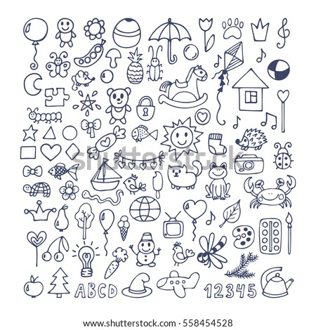 Collection Hand Drawn Cute Doodles Doodle Stock