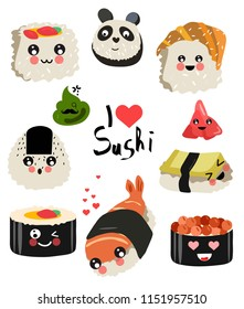 Collection of hand drawn. Cute sushi kawaii. Sea food. Different options sushi, rolls, onigiri. Transparent background. Vector