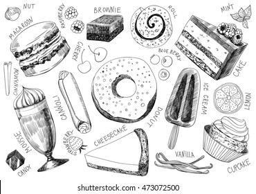 Collection of hand drawn delicious desserts on white background.