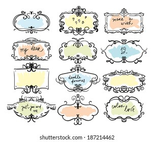 Collection of hand drawn doodle frames. Vector. Isolated on a white background.