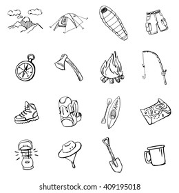 Collection of hand drawn doodles of camping gear. EPS 10.