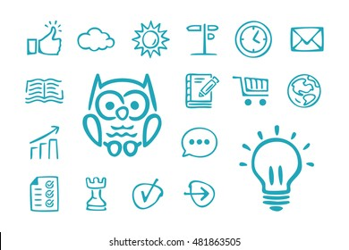 Collection of hand drawn education icons. Pedagogy. Globe. Navigation. Doodle. Simple cartoon vector illustration.
