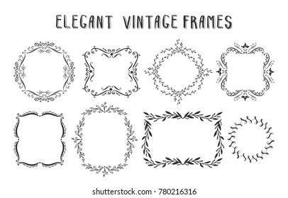 Collection of hand drawn floral frames and vignette