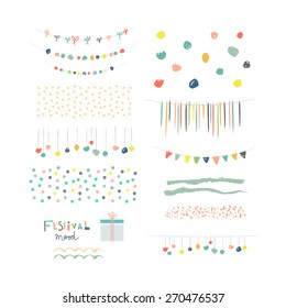 Collection of Hand Drawn Garlands, Party Banners and decor elements. Isolated