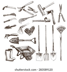 Collection of hand drawn graphic garden tools.