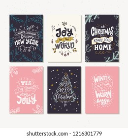 collection of hand drawn holiday cards or posters hand lettering with christmas saying quotes