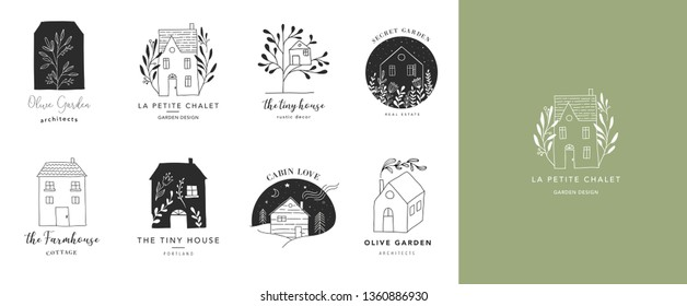 Collection of the hand drawn home, house logos, icons, gardens and cabins. Vector illustrations