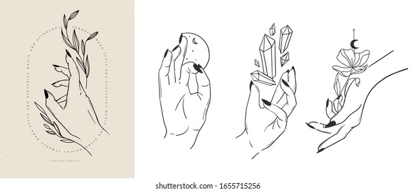 Collection hand drawn icons of hands vector illustrations. Magic astrological symbols.