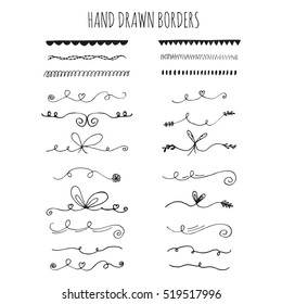 Collection of hand drawn ink borders. Cute and unique swirls, dividers for your design. Isolated vector elements.