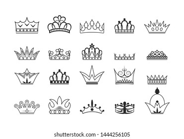 Collection hand drawn kings and queens crown outlines. Vintage royal heraldic symbols. Imperial diadem icons.