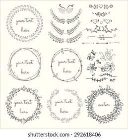 Collection of hand drawn laurels and wreaths. Floral wreath with copy space for text. wedding or invitation card design element. Swirls, frames, arrows, leaves,  dividers, branches, banners and curls.