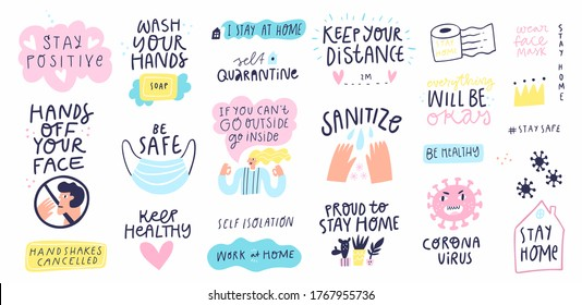 Collection of hand drawn lettering about quarantine and corona virus 2020 pandemy. Set of stickers - stay home, wash your hands, sanitize. Unique vector design elements. Covid19 quotes and concepts.