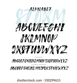 Collection of hand drawn letters. Vector alphabet. Hand drawn letters. Ink illustration. Modern brush calligraphy. Isolated on white background.
