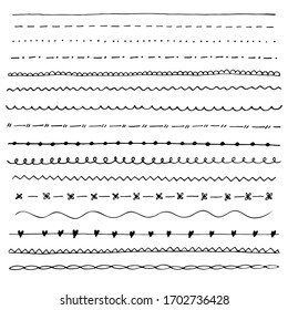Collection of hand drawn line borders, Set of floral ornaments .