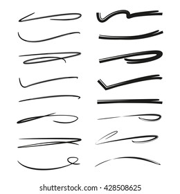 collection of hand drawn lines, brush lines, brush strokes, underlines