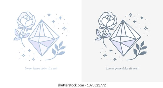 Collection of hand drawn magical elements with crystal, flower, stars, leaf branch for feminine icon, beauty logo, emblem, and other purposes