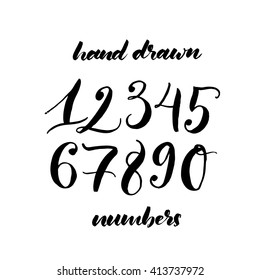 Collection of hand drawn numbers. Hand drawn lettering background. Ink illustration. Modern brush calligraphy. Isolated on white background. Numbers set in hand drawn calligraphy style.