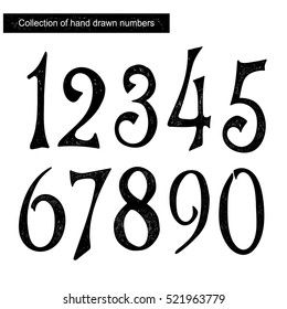 Collection of hand drawn numbers. Hand drawn lettering background.