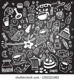 Collection of hand drawn outline buffet style breakfast dishes including eggs, pancakes, beverages, fruits, sandwiches, cereals and yogurt isolated on background.