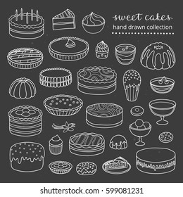 Collection of hand drawn outline cakes for birthday, easter, party, sweet cafe isolated on the blackboard.
