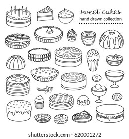 Collection of hand drawn outline cakes for birthday, easter, party, sweet cafe isolated on white background.