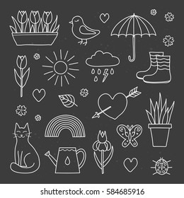 Collection of hand drawn outline spring items including sun, cloud, umbrella, boots, flowers, cat, bird, butterfly, ladybug and rainbow isolated on the blackboard.