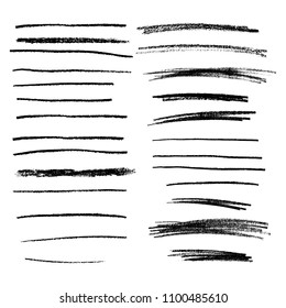 Collection of hand drawn pencil lines. Brush stokes. Vector dividers.