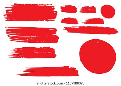 Collection of hand drawn red grunge brushes. Vector Grunge Brushes. Dirty Artistic Design Elements. Creative Design Elements. White background. Distress Frame, Logo, Banner, Wallpaper.
