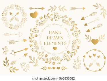 Collection of hand drawn romantic design elements. Vector.