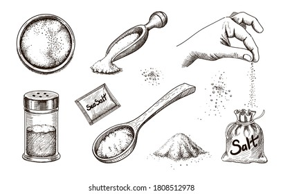 Collection of hand drawn sea salt. Salting crystals. Glass bottles and salt shaker and packaging sketch vector set.