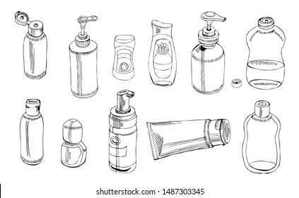 Collection of   hand drawn sketch of cosmetic package. Bottle, tube, flask. Monochrome elements isolated on white background. Vector illustration.