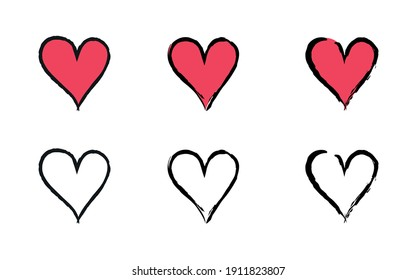 Collection of Hand Drawn Sketch Style Love Heart Illustrations. Brush Stroke Outline Hearts for Valentine's Day Designs