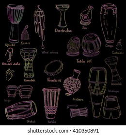 Collection of hand drawn sketches of ethnic percussion instruments with glitch effect.
