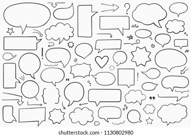 Collection of hand drawn speech bubbles, arrows and other design elements, contour shapes, vector eps10 illustration