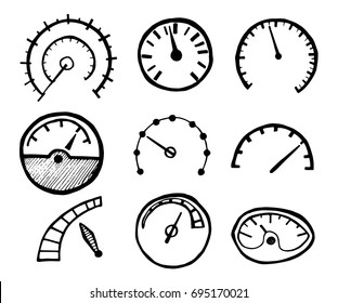 Collection of Hand Drawn Speedometer Icons Isolated on White Background. Vector Illustration.