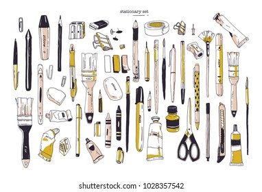 Collection of hand drawn stationery or writing utensils. Set of office and art supplies isolated on white background - brush, pen, pencil, marker, eraser, paint, sharpener. Vector illustration.