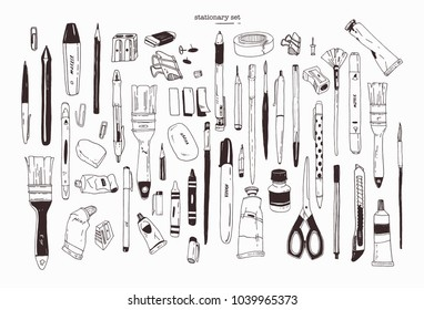 Collection of hand drawn stationery, writing utensils. Set of office and art supplies isolated on white background - brush, pen, pencil, marker, eraser, paint, sharpener. Contour vector illustration.