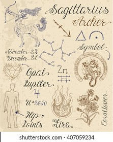 c554069eea1d8 Collection of hand drawn symbols for astrological zodiac sign Sagittarius  or Archer. Line art vector