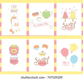 Collection of hand drawn templates for greeting cards, with sweet food doodles, with kawaii faces and typography, Italian text La dolce vita (Sweet life). Vector illustration. Design concept kids.