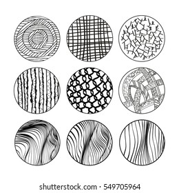 Collection of hand drawn textures. Vector illustration. Isolated on white background. Freehand drawing.