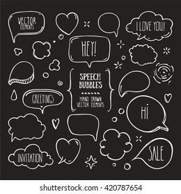 Collection of hand drawn think and talk speech bubbles with love message, greetings and sale ad. Doodle style comic balloon, cloud, heart shaped design elements. Isolated vector.