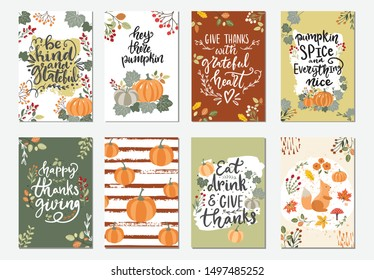 Collection of hand drawn vector illustration autumn posters and cards for Thanksgiving and seasonal greetings design. Hand written calligraphy lettering phrases
