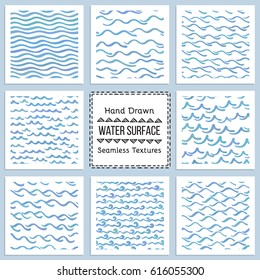 Collection of Hand Drawn Vector Textures of Water Surface. Ready to use seamless pattern included. Perfect for site background fill, scrap booking paper, advertising banners design.