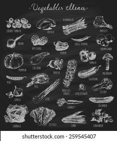 Collection of hand drawn vegetables on chalkboard (blackboard), high detailed, vector illustration, sketch, engraved style, menu design