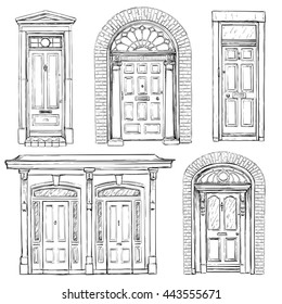 Collection of hand drawn vintage doors. Vector illustration